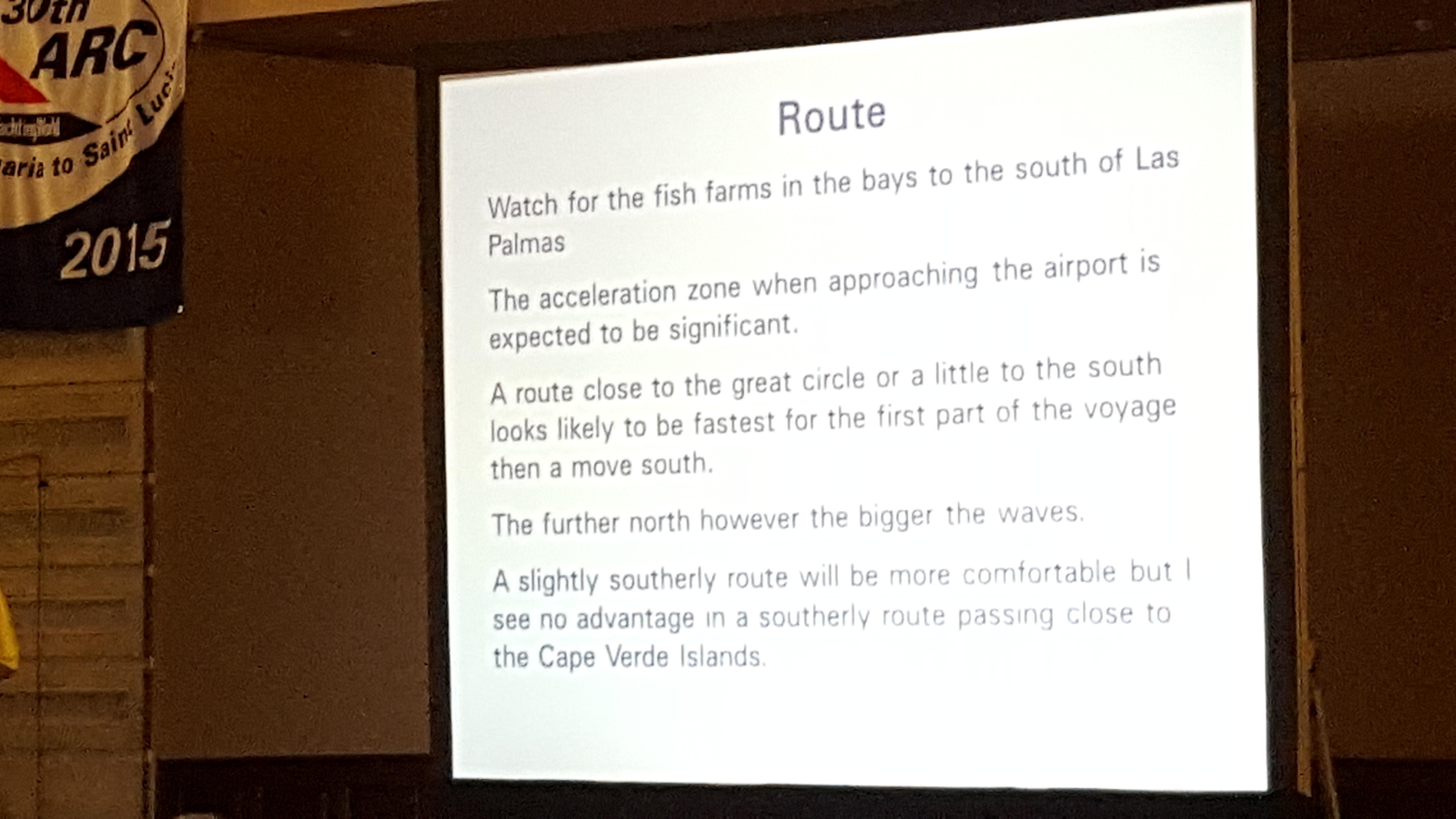 las palmas briefing route arc route